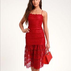 NWT midi red lace sleeveless dress